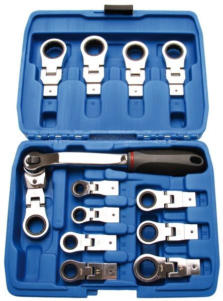 BGS 2258 Ratschenringschlüssel 8-19 mm Sortiment 14-teilig Ratschenschlüssel mit flexiblen Köpfen